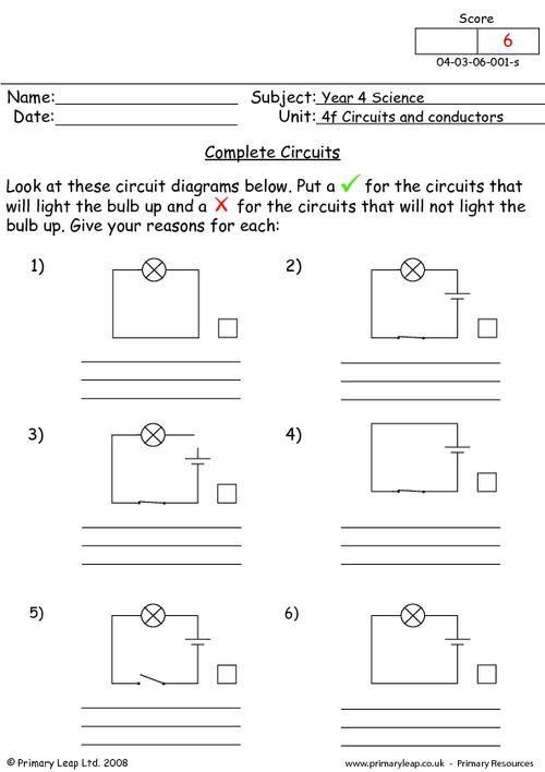 Complete Circuits Worksheet