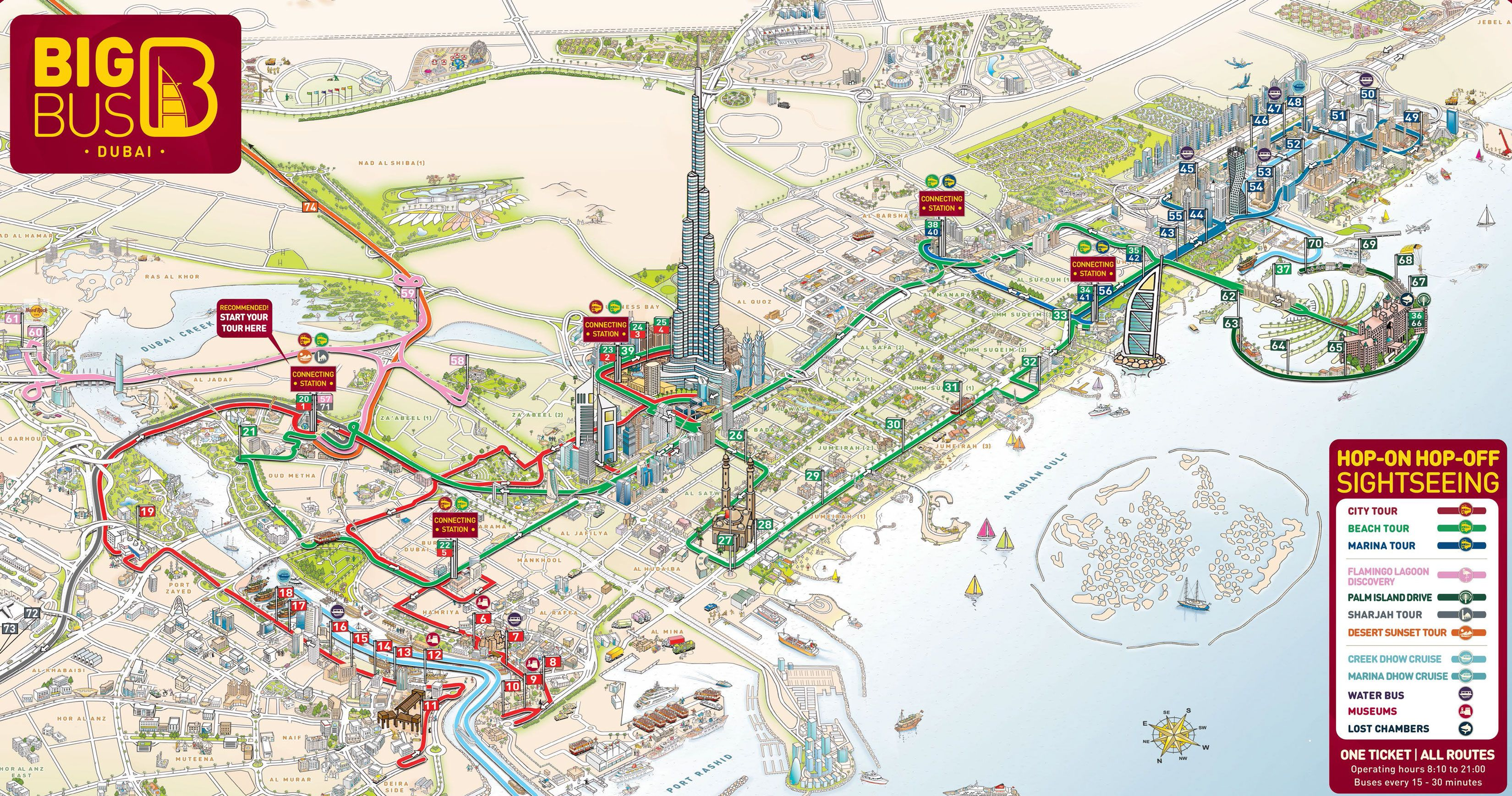 Map Of Dubai Hop On Hop Off Bus Tour With Big Bus Matkustaminen - Bus map abu dhabi