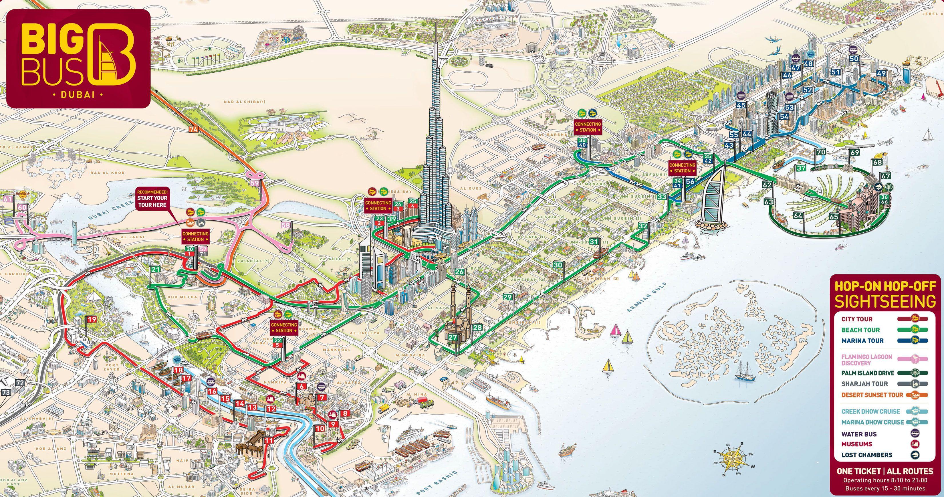 Map of Dubai hop on hop off bus tour with Big Bus  Matkustaminen