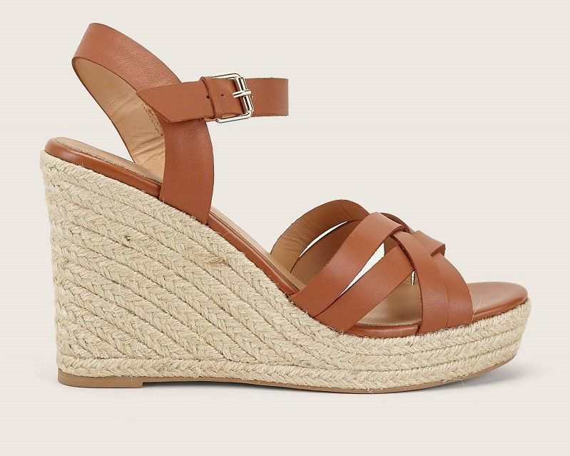 Soldes Sandales Compensées En Cuir Camel Jonak Femme
