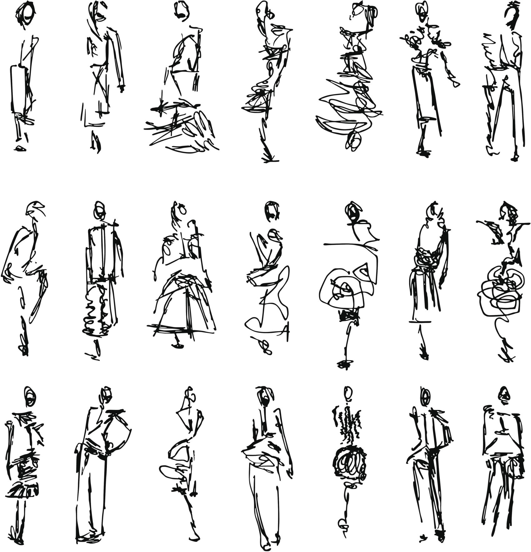 Photo of 'Scribbled' fashion illustrations – up close they're just scribbles but from fur…