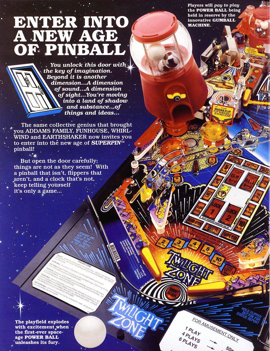 Twlight Zone Pinball Machine Poweball Picture Flyer Bally Jpg 887 1153 First Ceramic Ball 1993 Pinball Pinball Machine Twilight Zone