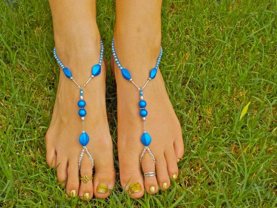 Silver and Teal Barefoot Sandals Other colors by HouseOfBlaise