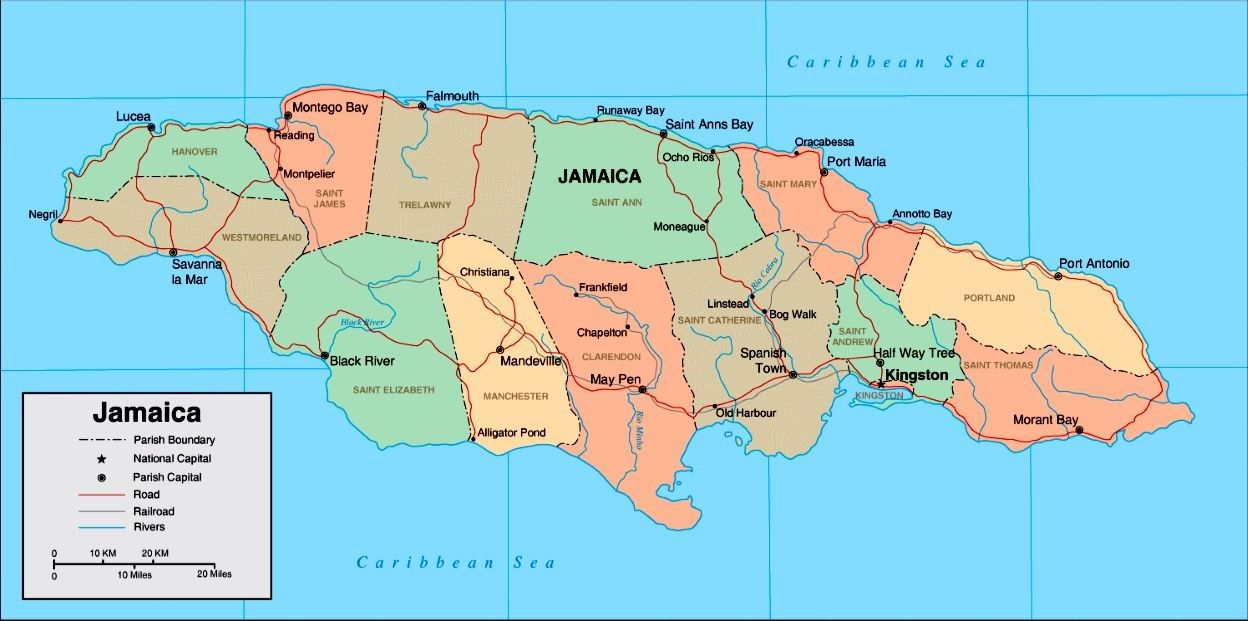 Pin by michele britton on maps pinterest the map of jamaica shows natural features as well as major roads towns and airports gumiabroncs Images