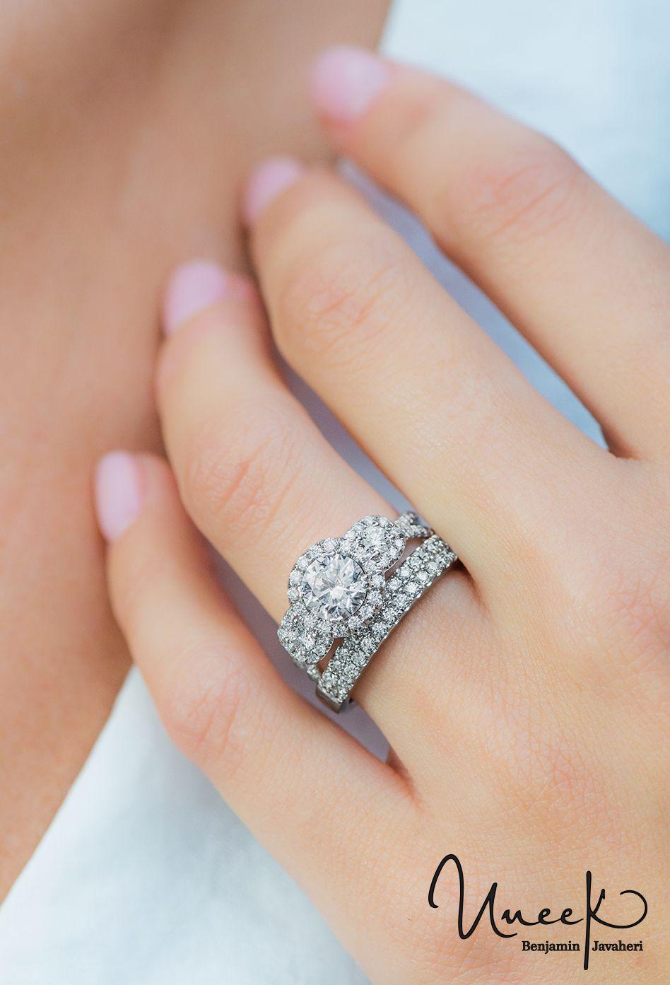 Uneek Fine Jewelry Three Stone Round Diamond Engagement Ring With Round Ce Pave Diamond Wedding Bands Timeless Engagement Ring Round Diamond Engagement Rings