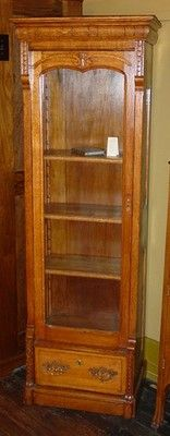 Tall Quartered Oak Single Door Bookcase China Cabinet w Drawer Carved 14544 | eBay