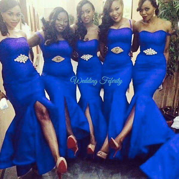 bc2c900c310 Nigerian wedding deep coral bridesmaids dresses with gold