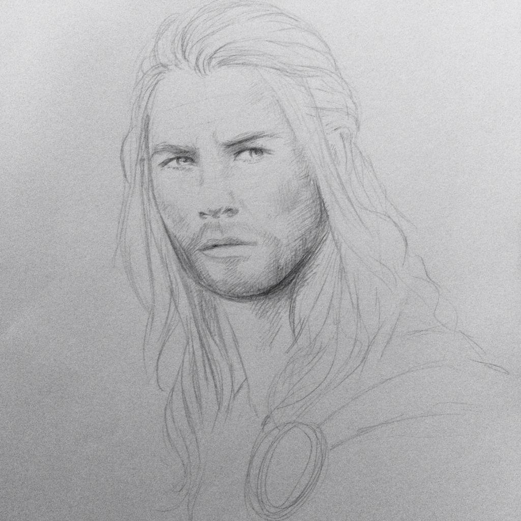 Thor sketch drawing pencil chris hemsworth marvel avengers