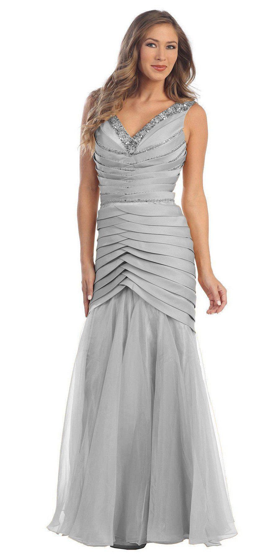 Long formal off white prom dress mermaid vneck flare satin chiffon