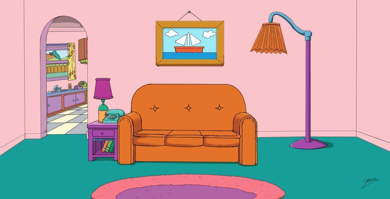 Simpsons Living Room Cartoon Wallpaper The Simpsons Meme Hintergrund