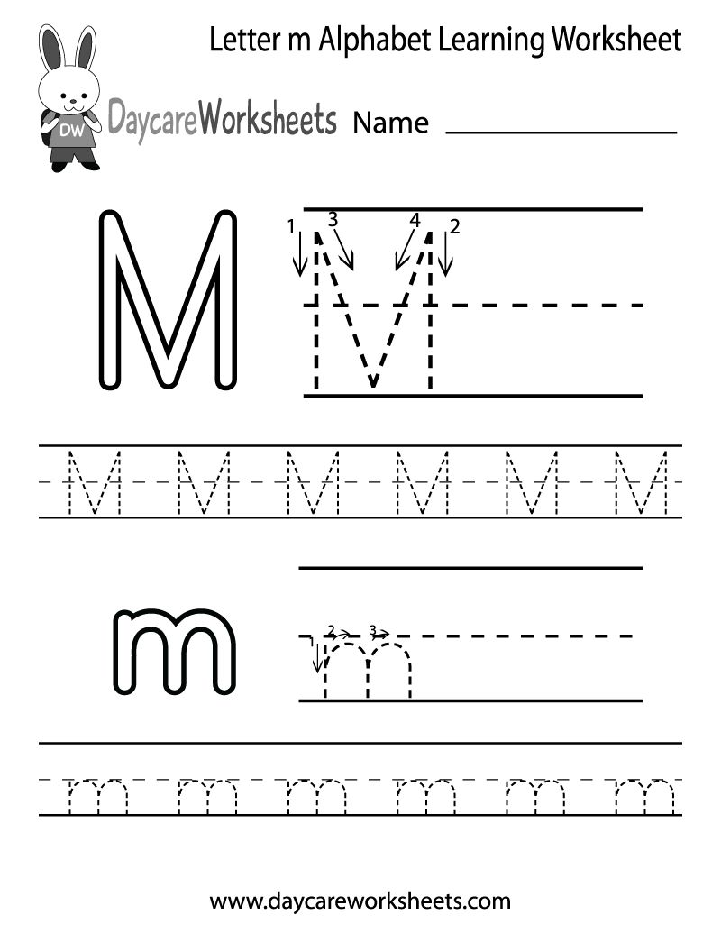 Draft Free Letter M Alphabet Learning Worksheet For Preschool ...