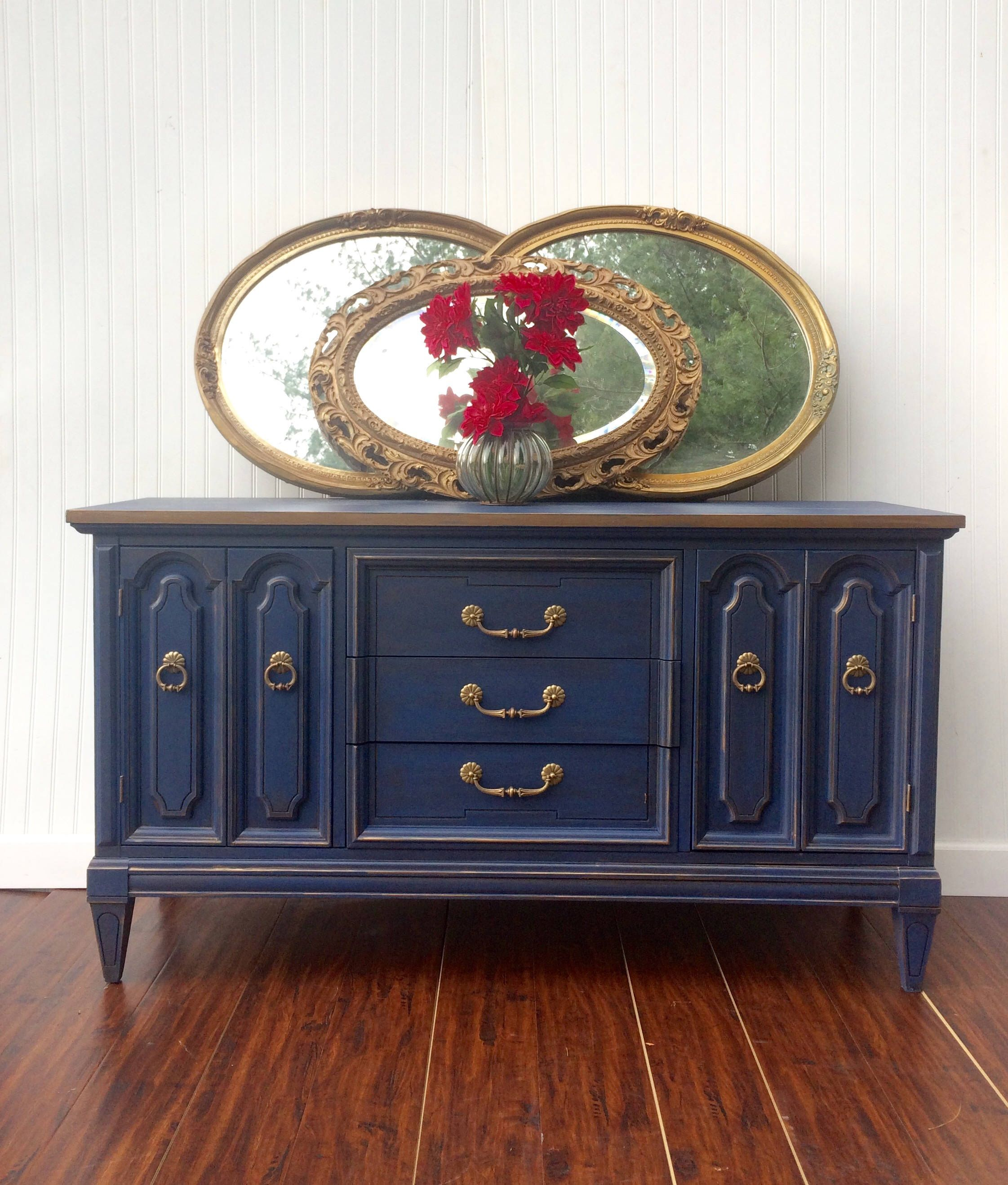 Navy Blue& Metallic Bronze Gold Glazed Antiqued Buffet Sideboard TV Console Credenza Bathroom