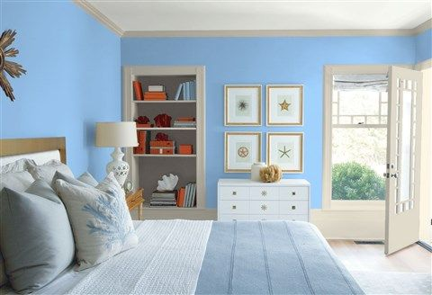 Look At The Paint Color Combination I Created With Benjamin Moore Via Wall Summer Blue 2067 50 Trim Wind S Breath Oc 24 Bookcase Back