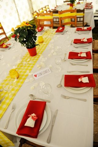 Comic Book Wedding Yellow Gingham And Red Theme