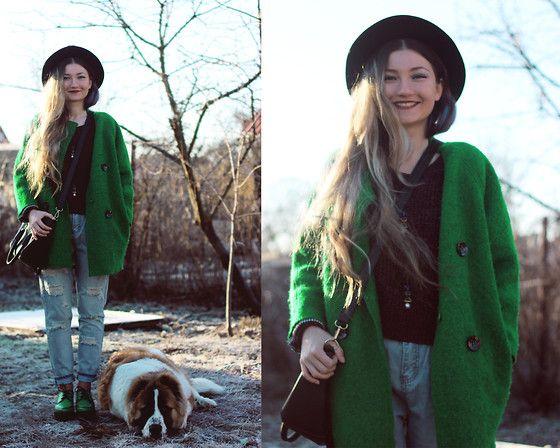 ♡Anita Kurkach♡ - Black Five Jeans, Asos Coat, Asos Sweater, Asos Shoes, Asos Hat - Good Day!