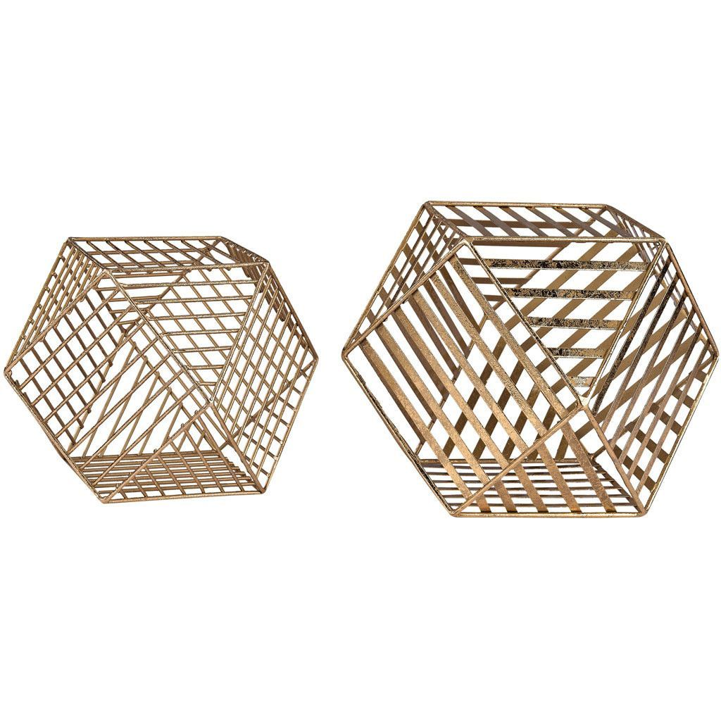 Roshal Gold Wire Dodecahedron (Set of 2) is part of Metal Home Accessories Copper Accents - Finished in trending metal color, the Roshal Dodecahedron has countering stripes that offset the regular, predictable sides  Dimensions 10 W x 10 L x 7 H Color Gold Leaf Material Metal Shipping Ships within 57 days  US only  Return This item is return eligible within 14 days