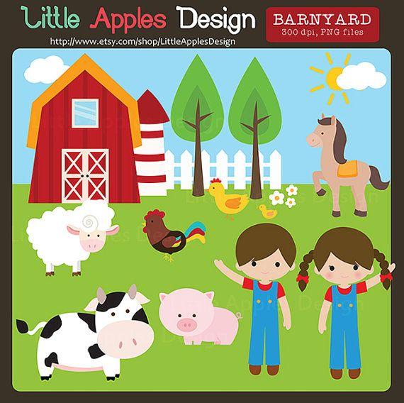 Barnyard Clip Art Clipart Farm By LittleApplesDesign 500