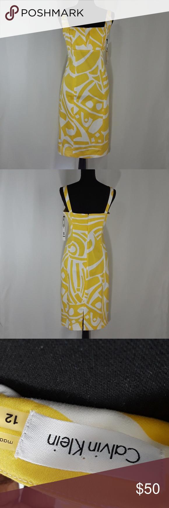 New Calvin Klein Yellow And White Sunray Dress Calvin Klein Size 12 Yellow And White Sunray Strappy Dress Empire Wais Strappy Dresses Calvin Klein Calvin [ 1740 x 580 Pixel ]