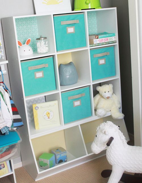 The cube unit u0026 fabric bins are Martha Stewart from Home Depot and the bottom piece is from target. Love the scrapbook paper backings! & Revamping Storage Units into Something Special | Toy storage ...