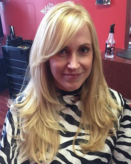 Long Hairstyle With Side Bangs Layered