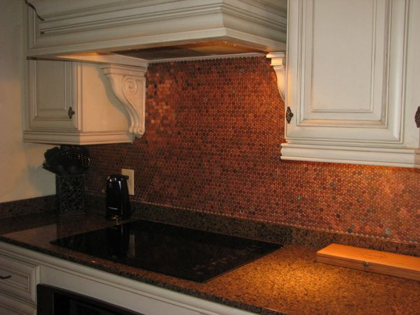 My penny backsplash inspired by penny floors from living - Penny tile backsplash kitchen ...