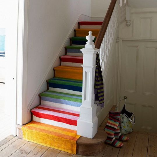 Colorful carpet brightens the staircases