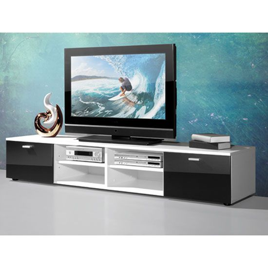 Contemporary Plasma Tv Stand In White With Gloss Doors In Black