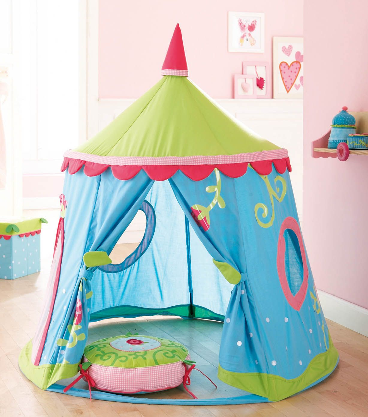 Kid Bedroom  Amusing Kid Bedroom Decoration With Blue Green Round Kid Tent Bed Along With Light Pink Bedroom Wall Paint And Oak Wood Bedroom Flooring  sc 1 st  Pinterest & Haba - Play Tent Caro-Lini by Haba | DIY/ craft ideas | Pinterest ...