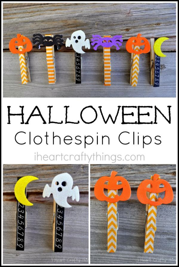 Halloween Clothespin Clips Decoration, Craft and Halloween ideas - homemade halloween decorations kids
