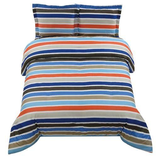 Boys Brown And Orange Bedding: Twin Boys Teen Blue Orange Stripe Stripes Comforter Sham
