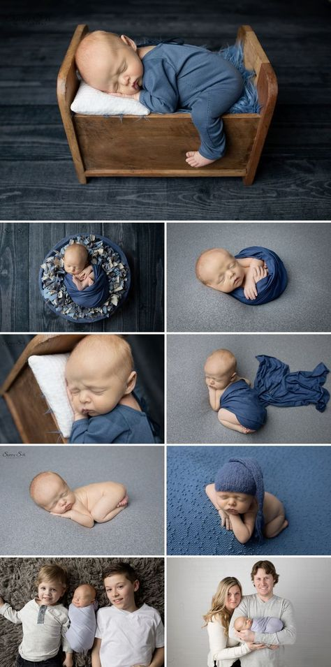10 day old sloan and his blue and grey studio newborn photo shoot with sunny s h photography winnipeg baby pics newborn posed props pinterest
