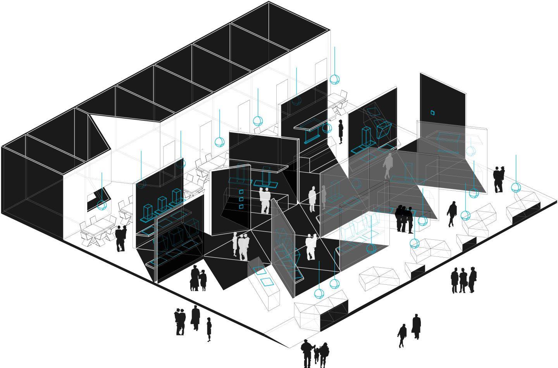 Exhibition Stand Drawing : Labics filippo romano · milano design week. elica exhibition stand