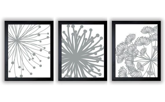 Silver grey white set of 3 art printable abstract art flower print wall decor instant download modern minimalist bathroom bedroom