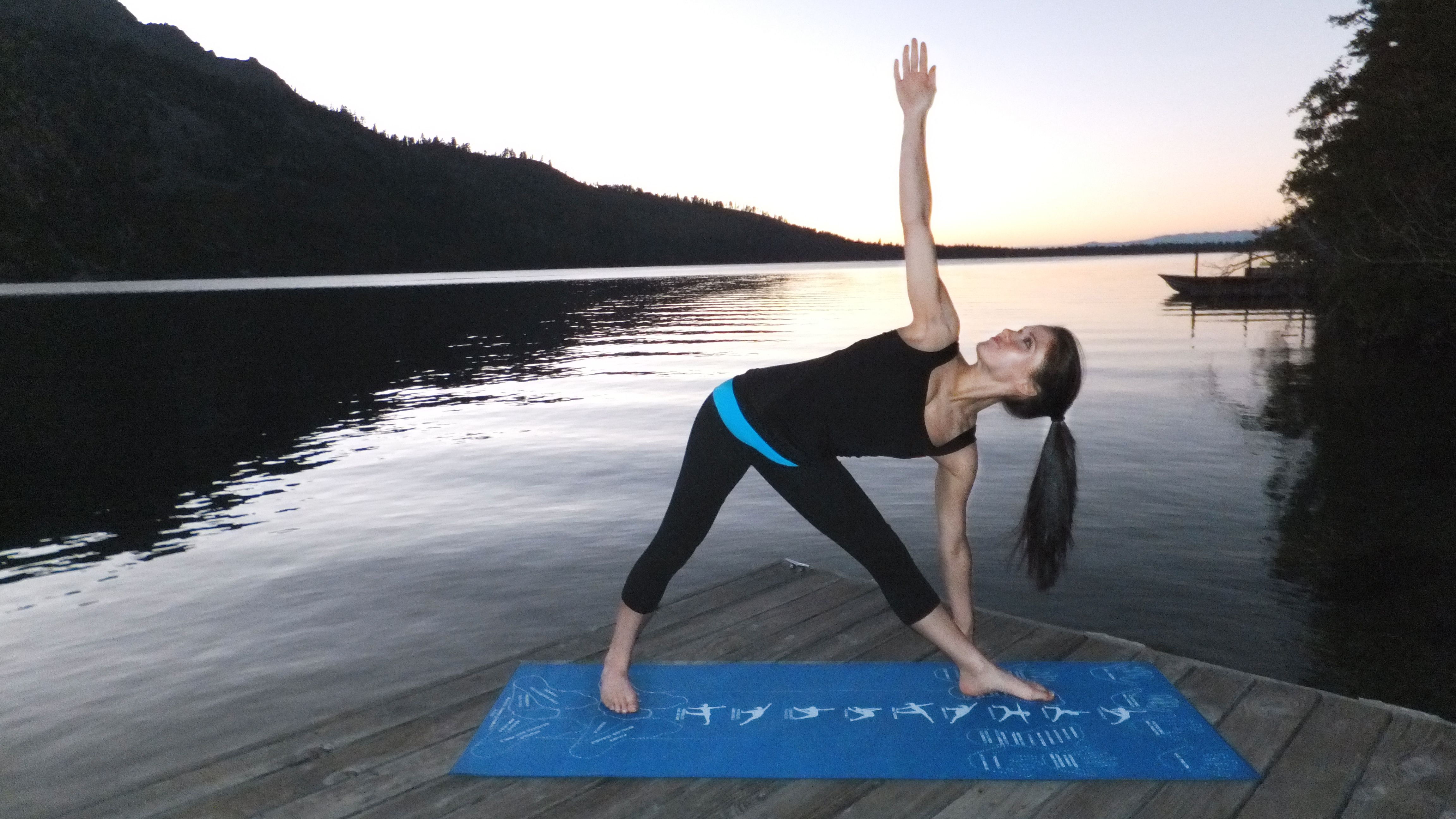 Instructional Yoga Mat Has Hand And Foot Placements Printed Right On