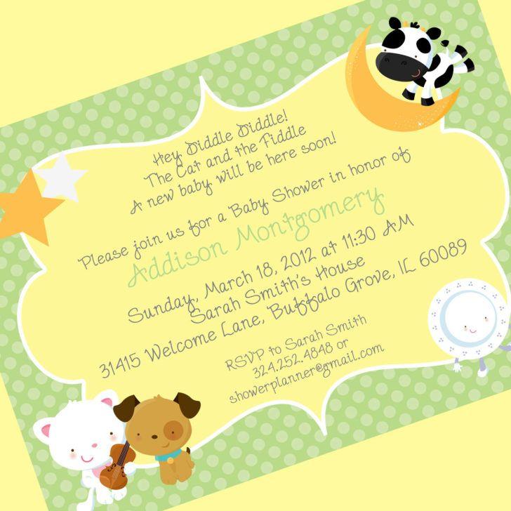 Cute Drawing Baby Shower Invite Wording Green Polkadot Baby Shower ...