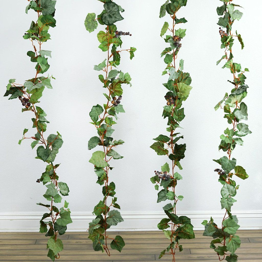 6FT Artificial Frosted Grape & Leaf Chain Garland | Table ...