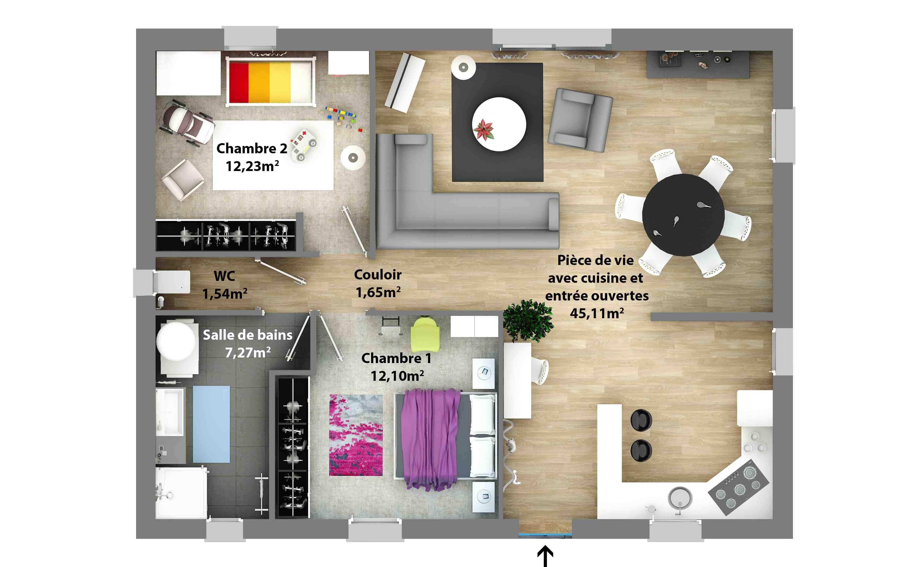 """modèle de plan de maison """"prima"""" // 2 chambres // gamme première"""