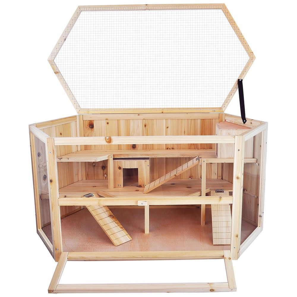 Large 3 Level Wooden Hamster Cage With Operable Roof 2 Bedroom Natural Fir Wood Niteangel 158 Fir Wood Wood For Sale Hamster Cage