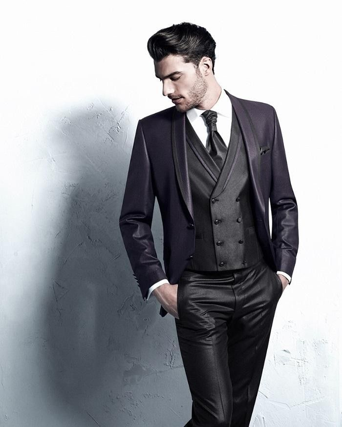 Latest Coat Pant Designs Purple And Charcoal Satin Groom Tuxedos ...