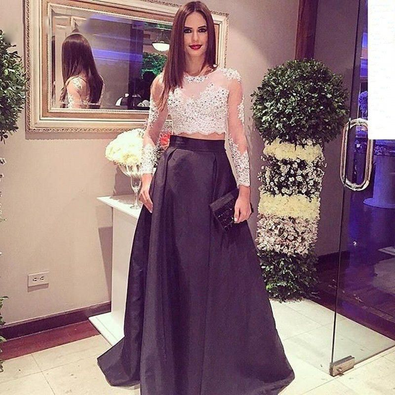 Love the Beautiful Sheer Beaded Lace Two Piece Prom Dress Long ...