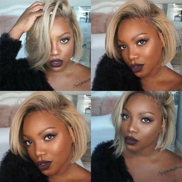 Blonde Wigs Blonde Bob With Dark Roots Shebelt Mall In 2020 Wig Hairstyles Short Bob Hairstyles Blonde Wig