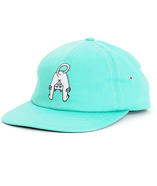 Instantly brighten any outfit with a lightweight teal crown that shows off  an embroidered Lord Nermal mooning his butt at you on the front. a32ca35f666b