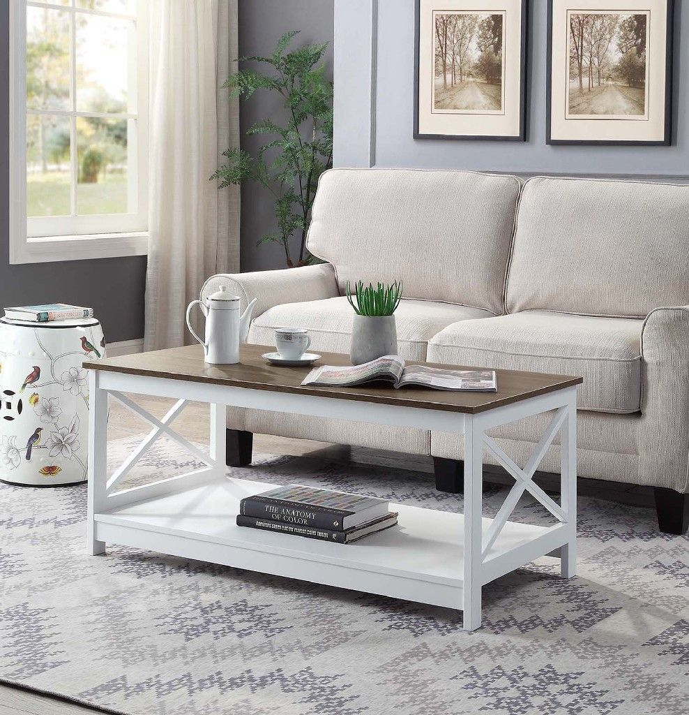 Oxford Coffee Table Convenience Concepts 203082wdftw In 2020 Furniture Arrangement Black White Living Room Living Room White