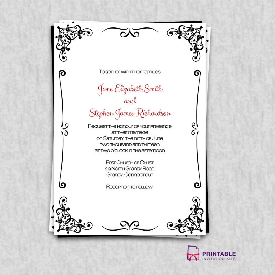 FREE PDF Invitations Retro Border Wedding Invitation Easy To Edit And Print At Home
