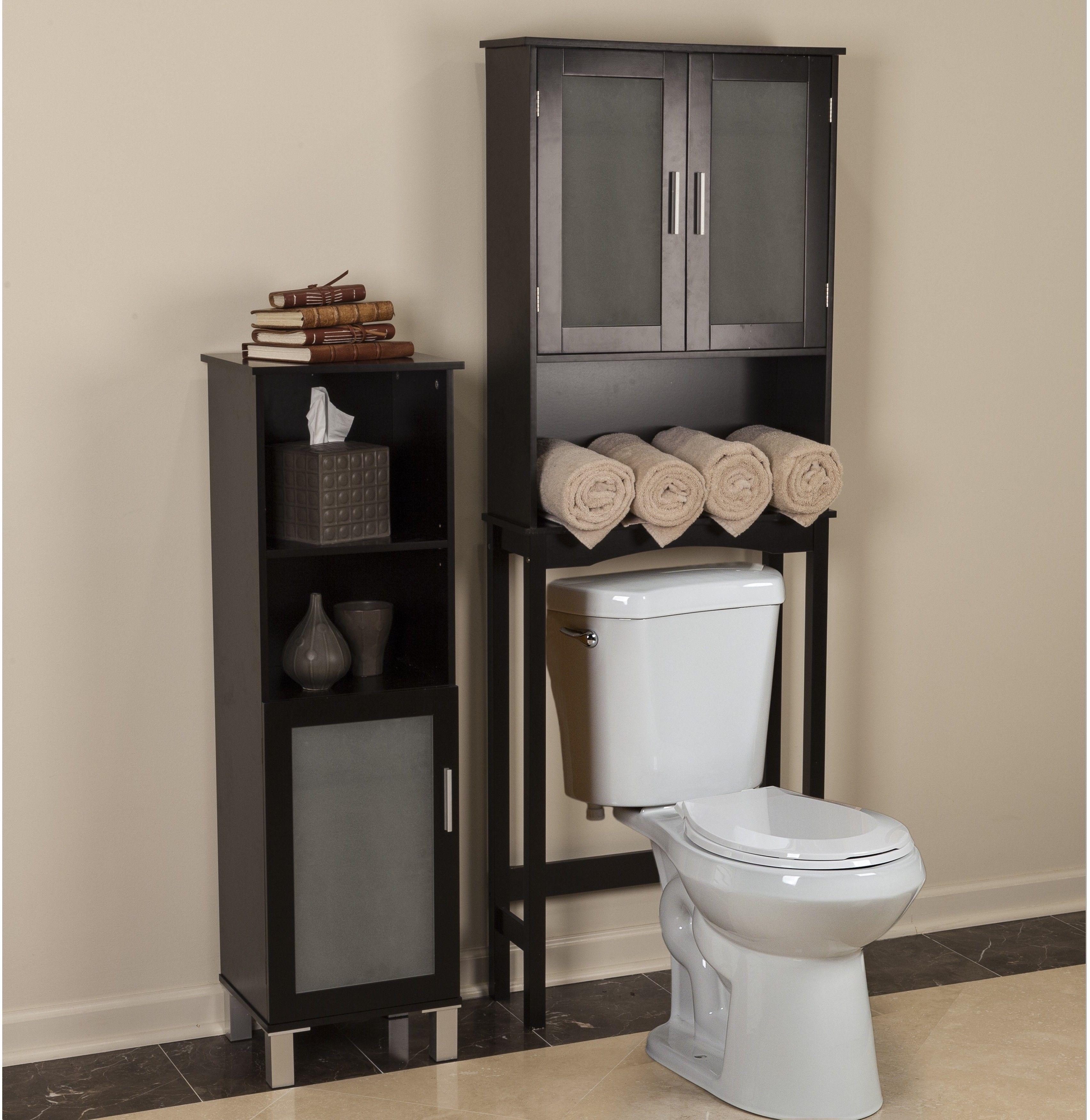 Elegant Bathroom Over The Toilet Wood Spacesaver Storage Cabinet