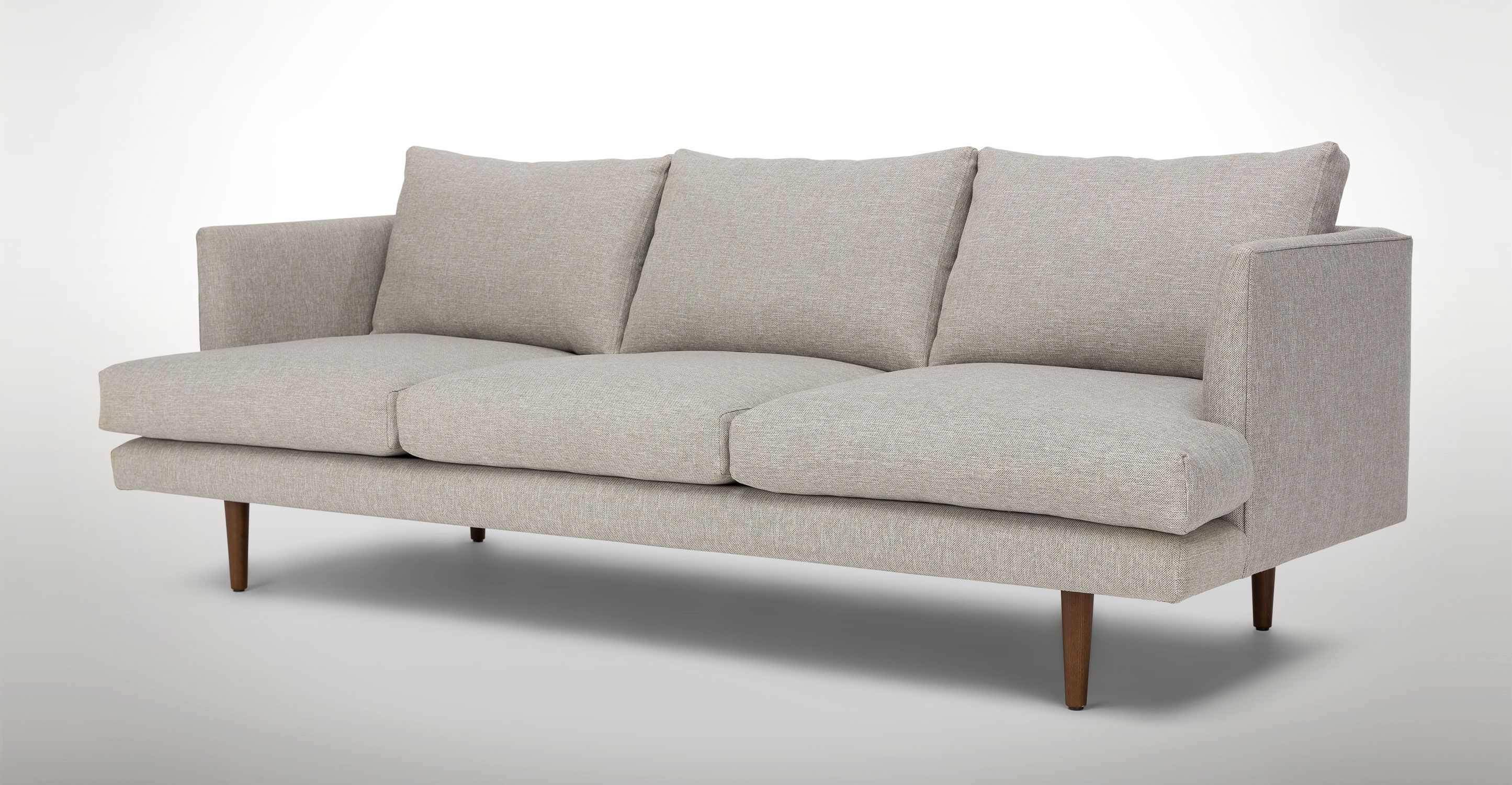 Light Gray Sofa 3 Seater Solid Wood Legs