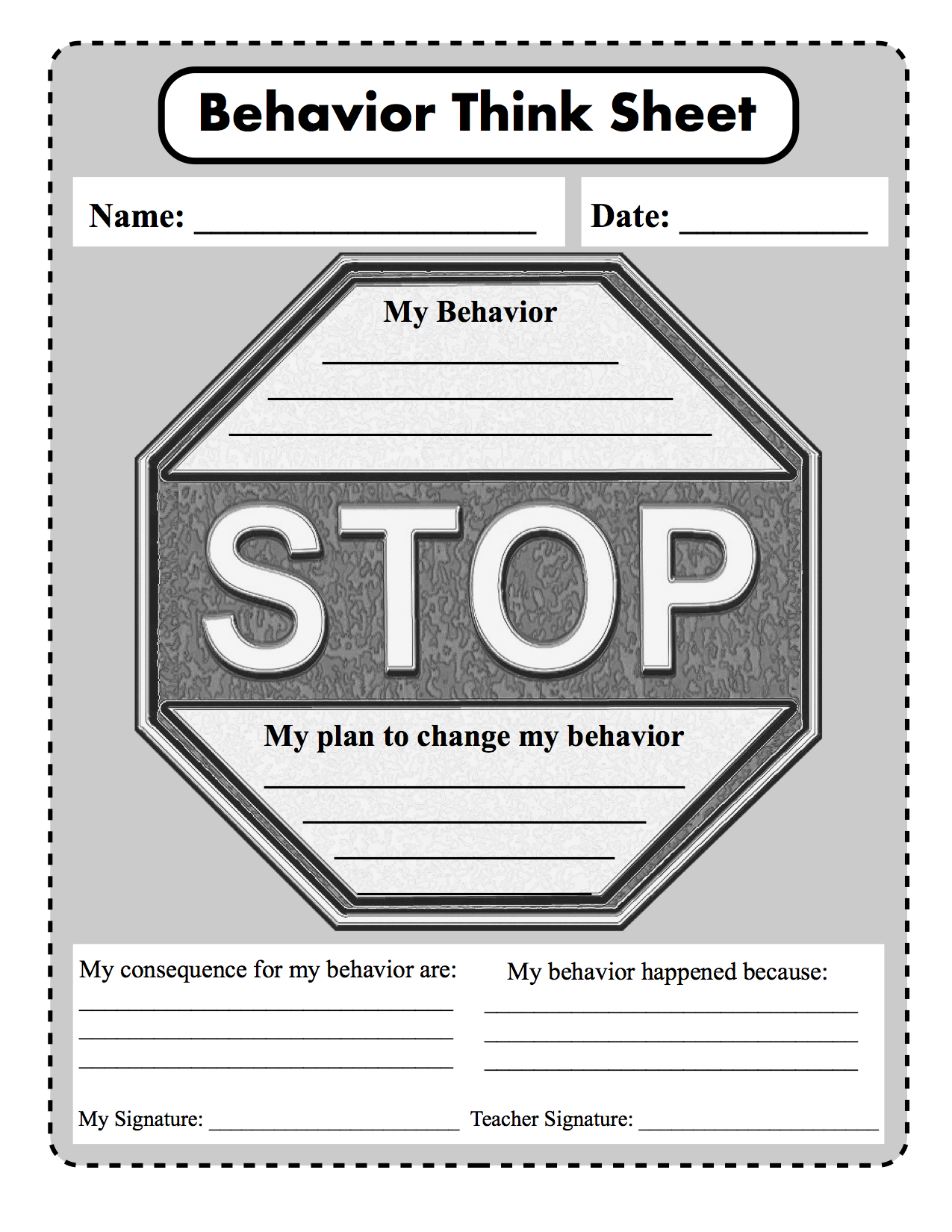 Stop Think And Choose Behavior Consequence Plan To
