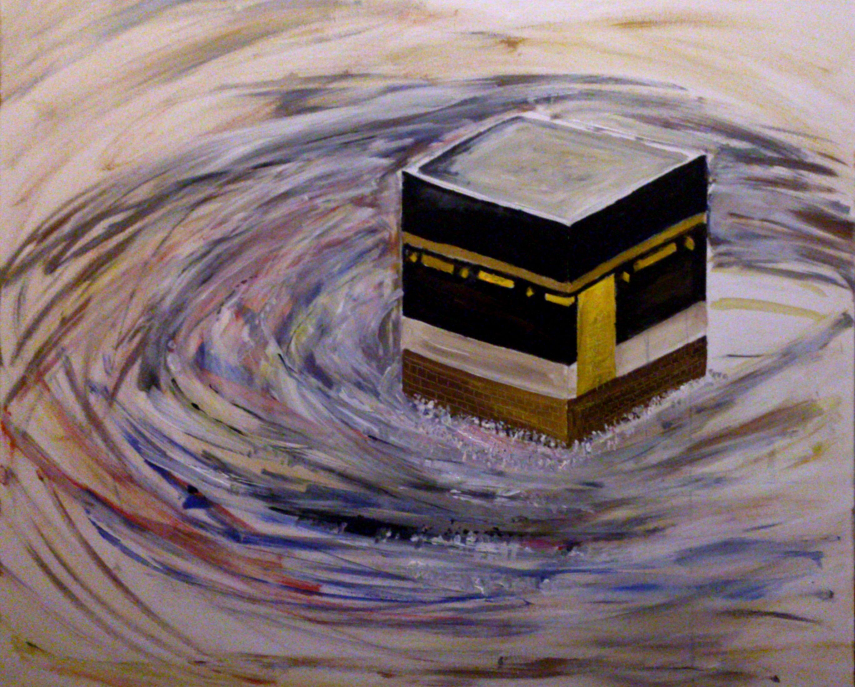 Holy Kaaba Holly Kaaba In Saudia Arabia Painted On Chunky Big Canvas Very Colorful And Vibrant Oil Paint With Delicate Touch Of Art Painting Islamic Art