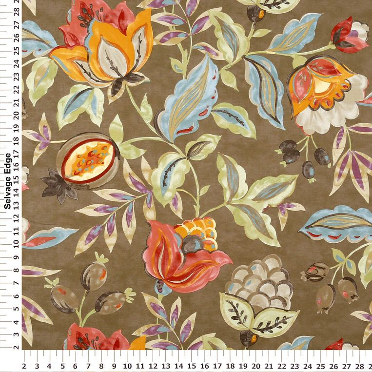LARosa Drapes Flaxseed Modern Poetic Floral Home Decor Fabric