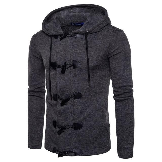 NIBESSER Fashion Cardigan Hooded Sweaters Coat Men Horn Button Long Sleeve Home Winter Outwear Knitted Sweaters Warm Coat